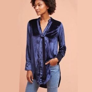 Anthropologie Maeve Velvet Button Down Tunic Top